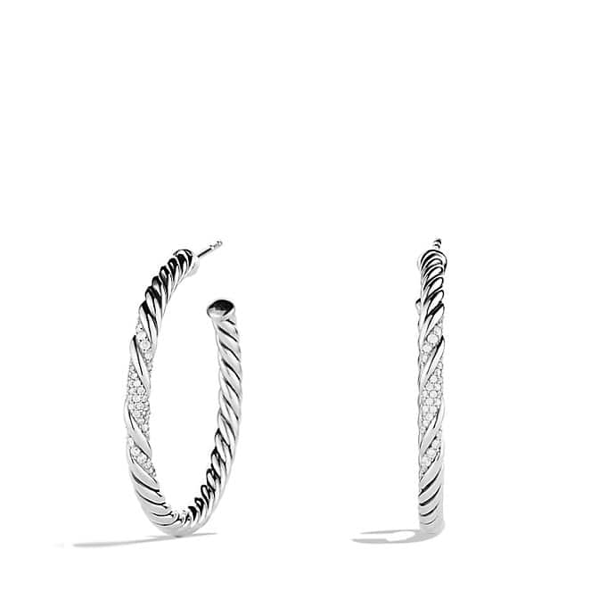 Willow Medium Hoop Earrings with Diamonds