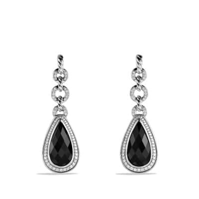 Anjou Drop Earrings with Black Onyx and Diamonds