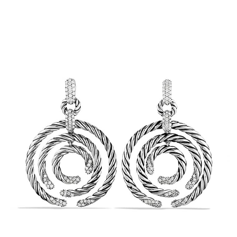 Willow Round Drop Earrings with Diamonds