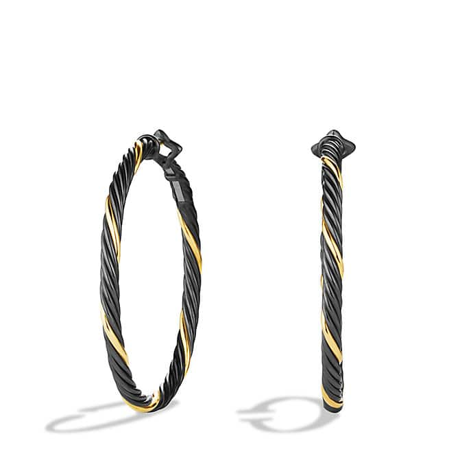Black & Gold Large Hoop Earrings