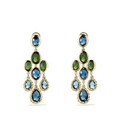 DY Signature Collection Chandelier Earrings with Hampton Blue Topaz and Diamonds in Gold