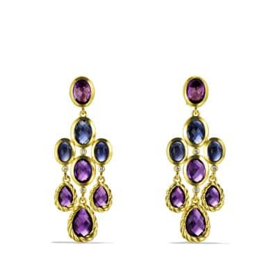 DY Signature Collection Chandelier Earrings with Amethyst and Diamonds in Gold