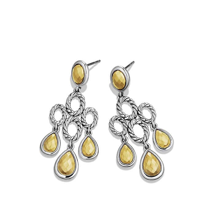 Sculpted Cable Chandelier Earrings with Gold Domes