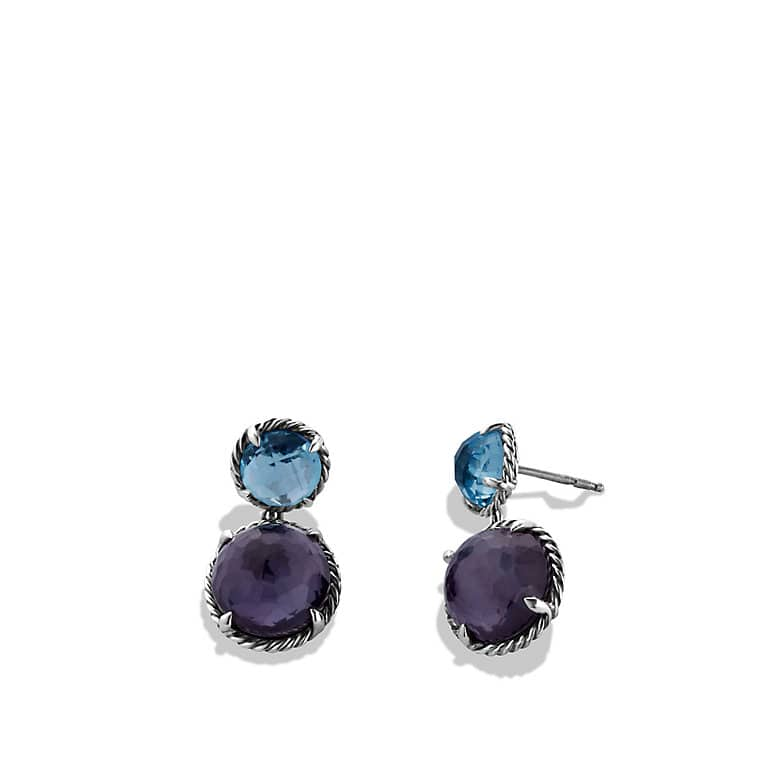 Chatelaine Double-Drop Earrings with Black Orchid and Blue Topaz