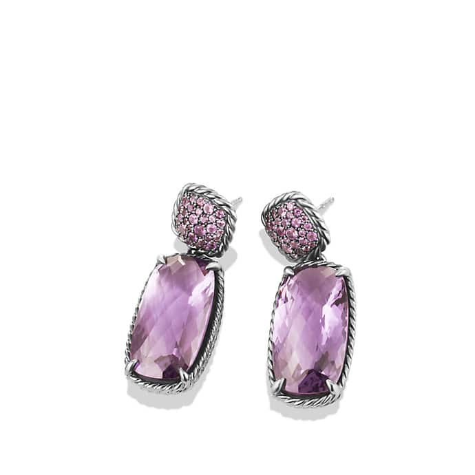 Chatelaine Double Drop Earrings with Lavender Amethyst and Amethyst