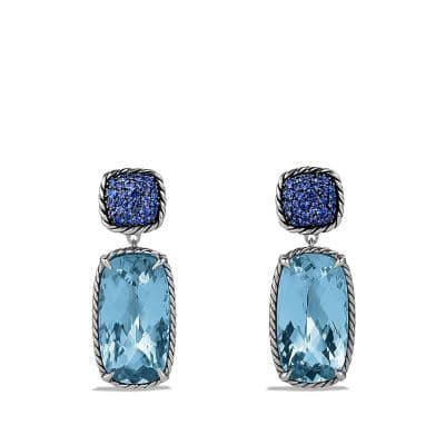 Chatelaine Double Drop Earrings with Blue Topaz and Blue Sapphires
