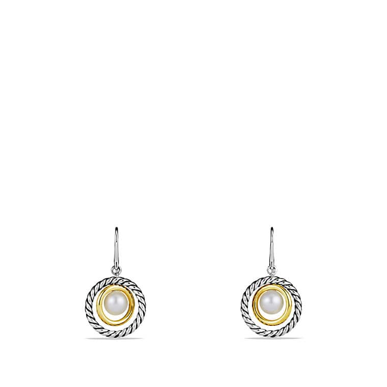 Mobile Drop Earrings with Pearls and Gold