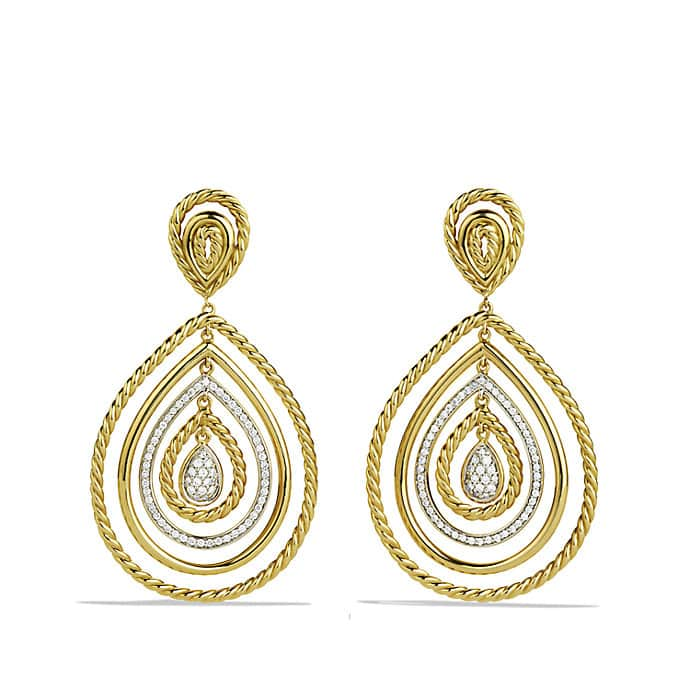 Mobile Drop Earrings with Diamonds in 18K Gold