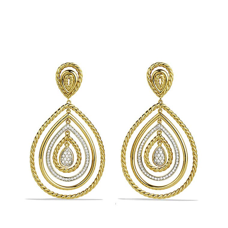 Mobile Drop Earrings with Diamonds in Gold