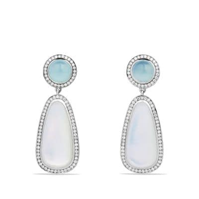 Chatelaine Double Drop, Earrings with Moon Quartz, Aquamarine and Diamonds
