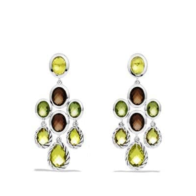 Chandelier Earrings with Lemon Citrine, Smoky Quartz, and Peridot