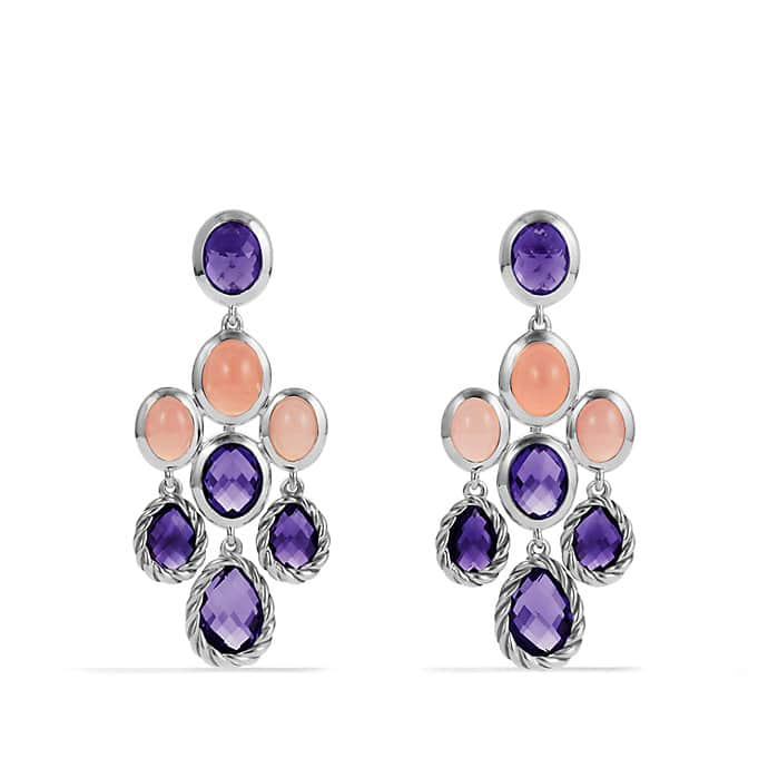Chandelier Earrings with Amethyst and Guava Quartz
