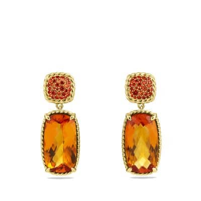 Chatelaine Drop Earrings with Madeira Citrine, and Orange Sapphires in Gold