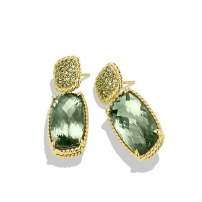 Chatelaine Drop Earrings with Prasiolite and Demantoid Garnets in Gold