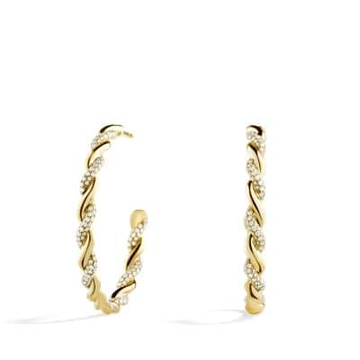 Wisteria Hoop Earrings with Diamonds in 18K Gold