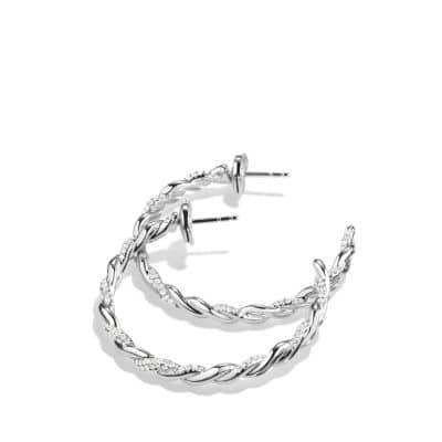 Wisteria Hoop Earrings with Diamonds in 18K White Gold