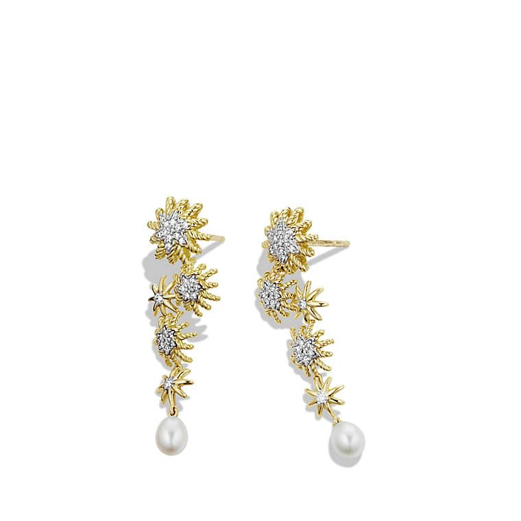 Starburst Cascade Earrings with Diamonds in Gold