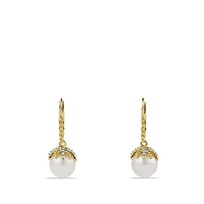 Starburst Drop Earrings with Pearls and Diamonds in Gold
