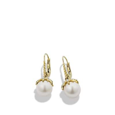 Starburst Drop Earrings with Pearls and Diamonds in 18K Gold