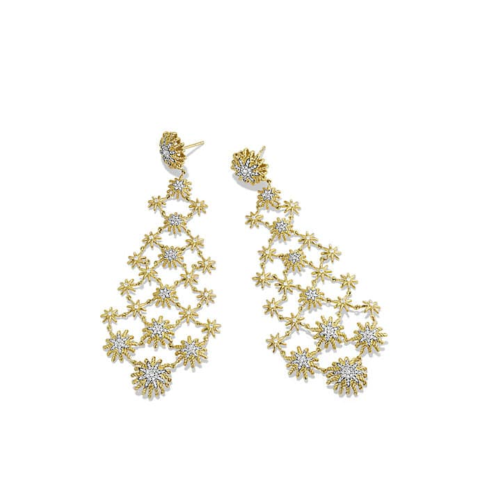 Starburst Chandelier Earrings with Diamonds in Gold