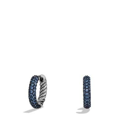 Petite Pavé Huggie Hoop Earrings with Blue Sapphires