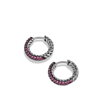 Petite Pavé Huggie Hoop Earrings with Pink Sapphires