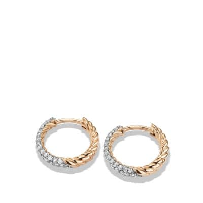 Petite Pave Huggie Hoop Earrings with Diamonds in 18K Rose Gold