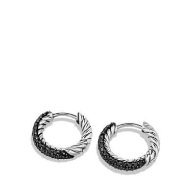 Petite Pavé Huggie Hoop Earrings with Black Diamonds