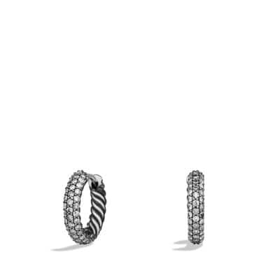 Petite Pavé Huggie Hoop Earrings with Gray Diamonds
