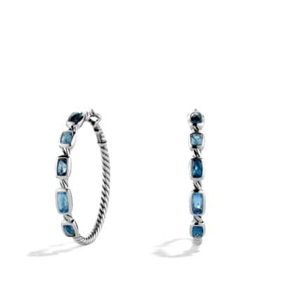 Confetti Hoop Earrings with Blue Topazes and Hampton Blue Topazes