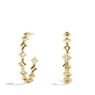 Venetian Quatrefoil Hoop Earrings with Diamonds in 18K Gold
