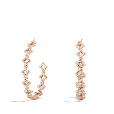 Venetian Quatrefoil Hoop Earrings with Diamonds in 18K Rose Gold