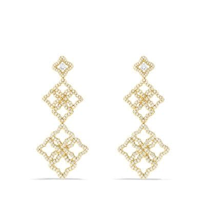 Venetian Quatrefoil Double-Drop Earrings with Diamonds in Gold