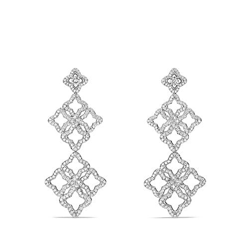 Venetian Quatrefoil Double-Drop Earrings with Diamonds in 18K White Gold