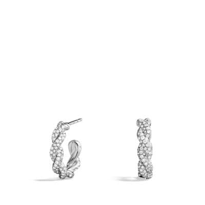 Wisteria Hoop Earrings with Diamonds in White Gold