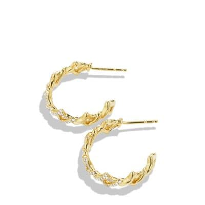 Venetian Quatrefoil Hoop Earrings with Diamonds in Gold