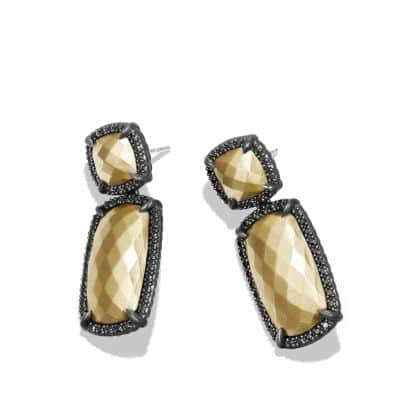 Double-Drop Earrings with 18K Gold and Black Diamonds