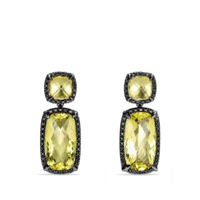 Double-Drop Earrings with Lemon Citrine and Black Diamonds
