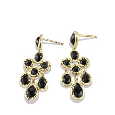 Chandelier Earrings with Black Onyx in 18K Gold