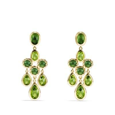 Chandlier Earrings with Peridot and Green Tourmaline in 18K Gold