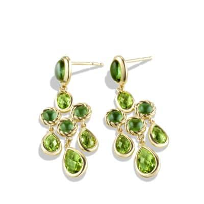 Chandelier Earrings with Peridot and Green Tourmaline in 18K Gold