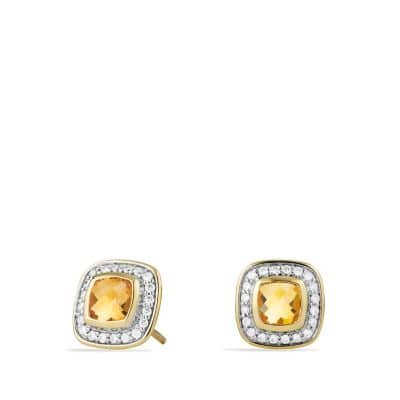 Petite Albion Earrings with Citrine and Diamonds in Gold