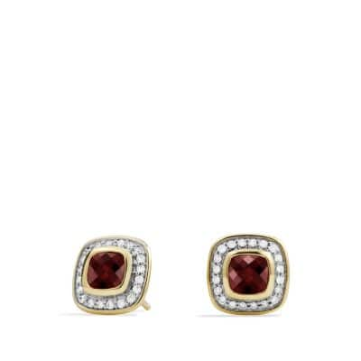 Petite Albion Earrings with Garnet and Diamonds in 18K Gold