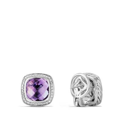 Albion Earrings with Amethyst and Diamonds, 11mm