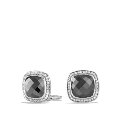 Albion Earrings with Hematine and Diamonds, 11mm