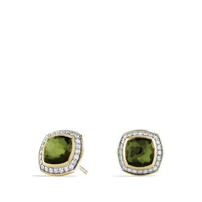 Albion® Earrings with Green Orchid and Diamonds in 18K Gold, 7mm