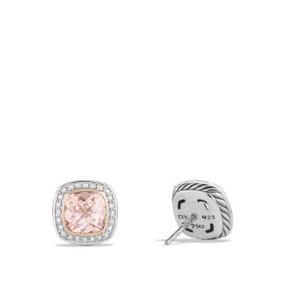 Earrings with Morganite, Diamonds and 18K Rose Gold