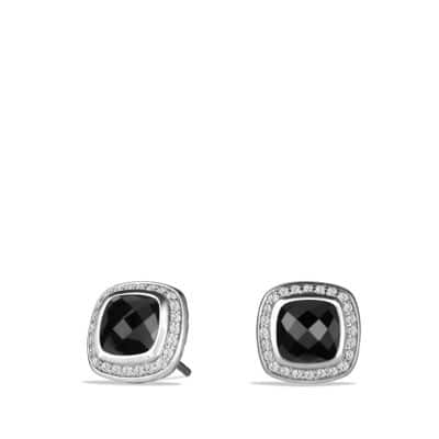 Albion Earrings with Black Onyx and Diamonds, 7mm