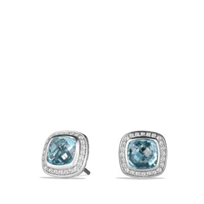 Albion® Earrings with Blue Topaz and Diamonds, 7mm
