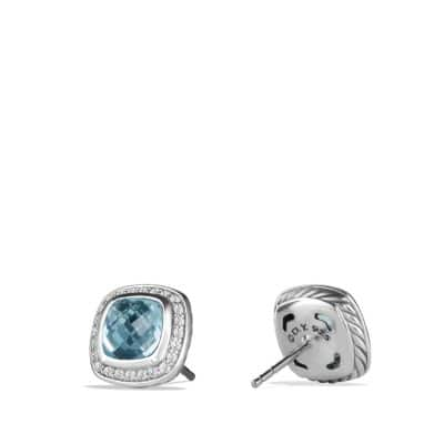 Albion Earrings with Blue Topaz and Diamonds, 7mm